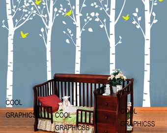 5 Large birch tree forest - vinyl wall decals trees wall sticker,girl boy baby child nursery wall decor,home decor white branch birds