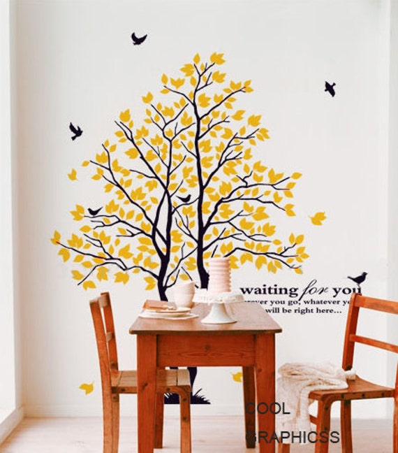 wall decals trees wall decal children wall decal bedroom wall decals birds vinyl sticker wall decor home decor art - Two Love Trees