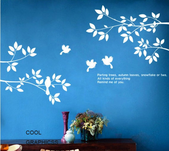 Birds and Spring Branches -Vinyl Wall Decal Sticker Art,Wall Hanging, Mural