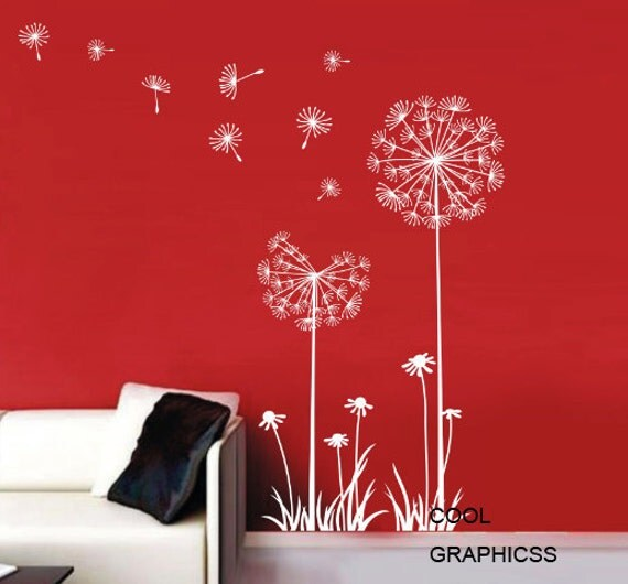 Dandelions in the Wind  - White Vinyl Wall Decal Sticker Art for bedroom,living room