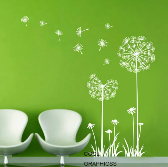 dandelions in the wind white green vinyl wall decal sticker mint green wall decals amp wall stickers zazzle
