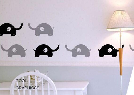 vinyl  wall decal elephants wall decal nursery wall decals girl baby kids bedroom wall decor wall sticker- Lovely Elephants