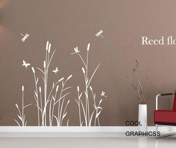 Reed Flowers  -Wall Decal Vinyl Sticker Art