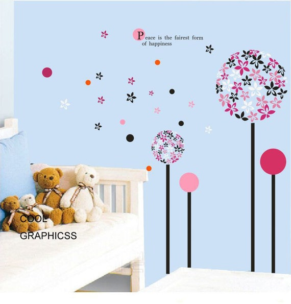 Colourful Flowers on the tree decal for Girl's nursery bedroom - Vinyl Wall Decal Sticker Art, Mural,Wall Hanging