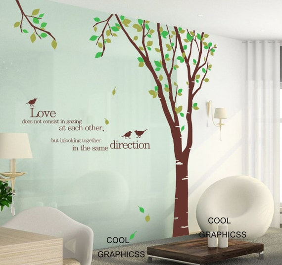 Large tree wall decals children wall decal nursery wall decal office vinyl wall decal wall sticker - Large birch tree