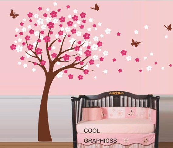 Attractive Cherry Tree Wall Decal Nursery Wall Decals Trees Wall Sticker Kids Baby Bedroom  Children Wall Decor,brown White Pink Flowers Butterfly Part 28