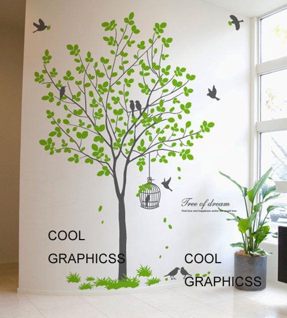 Green tree with birds and cage vinyl wall decals tree wall