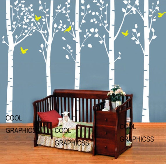 Five Large birch tree  - 98 inches tall  -Vinyl Wall Decal Sticker Art, Mural,Wall Hanging