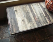 25% OFF Sale - Ships Immediately - Wide Barn Wood Coffee Table - Modern Reclaimed Rustic Wood with Vintage Steel Hairpin Legs
