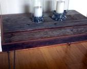 Barn Wood Side Table Coffee Table - Industrial Furniture - Modern Reclaimed Upcycled Rustic Wood with Vintage Steel Iron Hairpin Legs - OOAK
