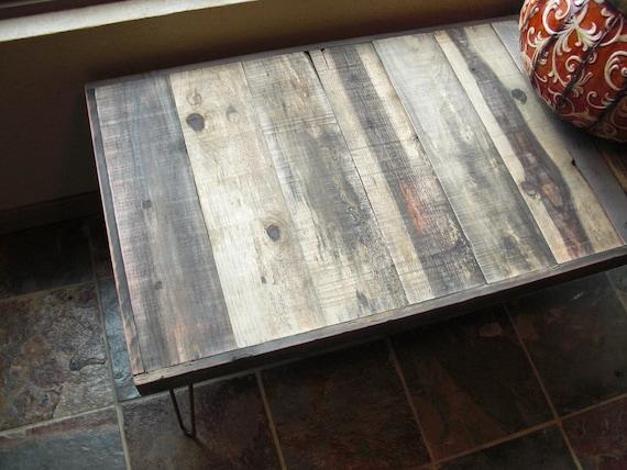 25% OFF Sale - Ships Immediately - Wide Barn Wood Coffee Table - Modern Reclaimed Rustic Wood with Vintage Steel Hairpin Legs
