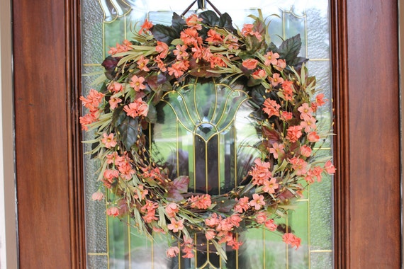 """Custom Listing for Candy H. - 26"""" diameter wreath with soft green ribbon hanger. Spring/Summer  Door Wreath, Grapevine, Coral Wreath"""