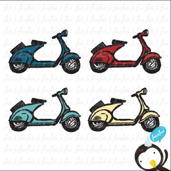 Vintage Scooter Clip Art 01