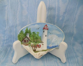 Sturgeon Point Lighthouse on Handpainted Clam Shell