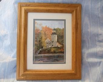 """5""""x7"""" Art Print of White River Lighthouse in 8""""x10"""" Oak Frame"""