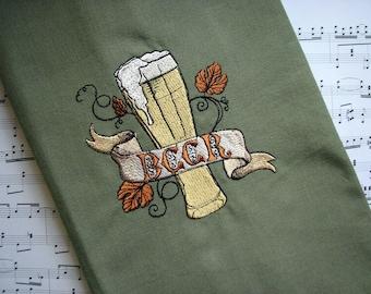 Beer Embroidered Kitchen Towel