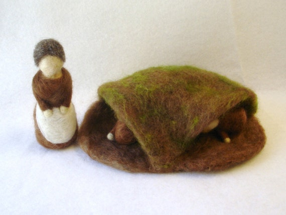 Waldorf Style Mother Earth and Root Children Playset - in stock and ready to ship
