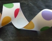 Multi Colored Polka Dot Ribbon 7/8 inch 5 yards Scrapbooking, Party Decorations, Hairbows