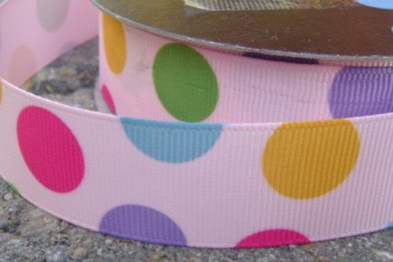 Pink, purple, green yellow blue polka Dot Ribbon 3 yards 7/8 inch thick.