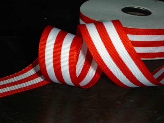 Red Stripe Ribbon 1 inch wide, red and white 3 yards Scrapbooking or Crafts
