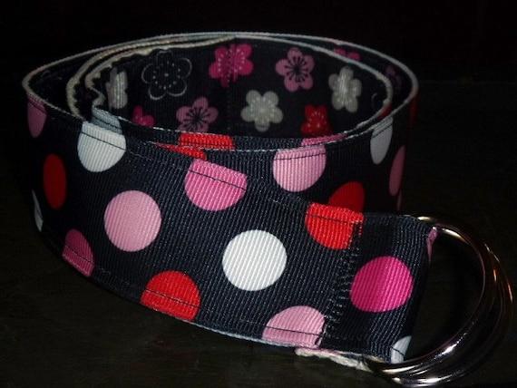 Kids or Teens Reversible Ribbon Belt Pink and Black Polka Dot Flowers