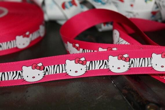 Hello Kitty Zebra Ribbon Hot Pink 7/8 inch, 20 yards Decor or Crafts
