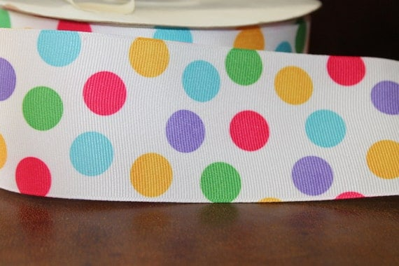 Wide Polka Dot Ribbon 21/4 inch 3 yards Multi Colored Dots