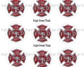 INSTANT DOWNLOAD Fire Dept Emblem 1inch Circle Bottlecap Images 4x6 sheet