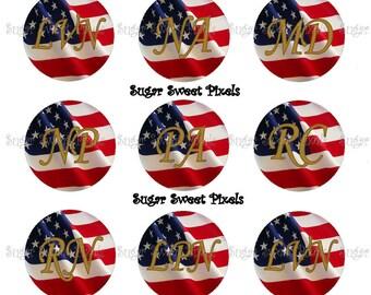 INSTANT DOWNLOAD Medical Title Abbreviations American Flag Digital 1 inch Circle Bottlecap Images 4x6 sheet