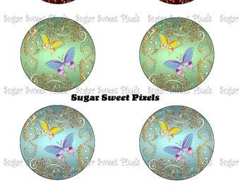 INSTANT DOWNLOAD Butterfly 1.25  inch Circle Images 4x6 sheet