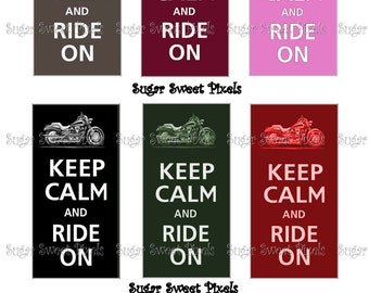 INSTANT DOWNLOAD Keep Calm Ride On Motorcyle Domino Size Digital Image sheet