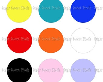 INSTANT DOWNLOAD Solid Multi colored blank 1inch Circle Bottlecap Images 4x6 sheet