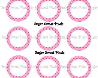 INSTANT DOWNLOAD Hot pink & pink polka dot border blank  1 inch Circle Bottlecap Images 4x6 sheet