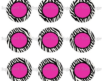 INSTANT DOWNLOAD Hot Pink Zebra blank 1 inch Circle Bottlecap Images 4x6 sheets