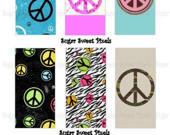 INSTANT DOWNLOAD Peace Signs Digital Rectangle Domino Size Images 4x6 sheet