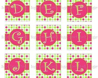 INSTANT DOWNLOAD  Hot Pink Lime Green Polka Dot Alphabet Images  1 inch Squares 4x6 image Sheet