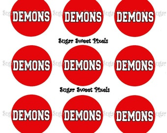 INSTANT DOWNLOAD Red Demons School Mascot 1 inch Circle Bottlecap Images 4x6 sheet