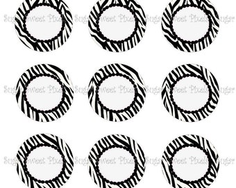 INSTANT DOWNLOAD Black & white Zebra Blank 1 inch Circle Bottlecap Images 4x6 sheets