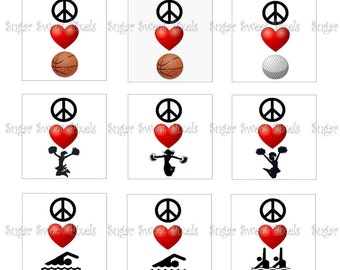 INSTANT DOWNLOAD White Peace Love Sports, Cheer, Dance, Swim  1 Inch Square Digital  Images  4x6 sheets
