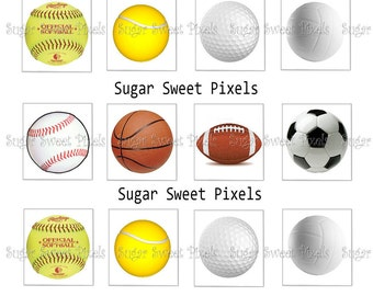 INSTANT DOWNLOAD Blank Sports Ball DIgital Images for Scrabble tiles 4x6 image Sheet