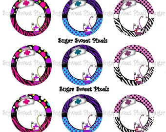 Instant download Cute  Nurse  Blank Images 1 inch Circle Bottlecap Images 4x6 sheet