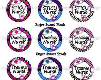 INSTANT DOWNLOAD Cute Speciality Nurse Sheet 7 1 inch Circle Bottlecap Images 4x6 sheet