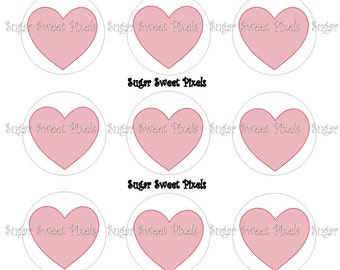 INSTANT DOWNLOAD Blank Pink Hearts 1 inch Circle Bottlecap Images 4x6 sheet
