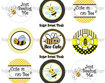 INSTANT DOWNLOAD Cute as Can Bee  1 inch Circle Bottlecap Images