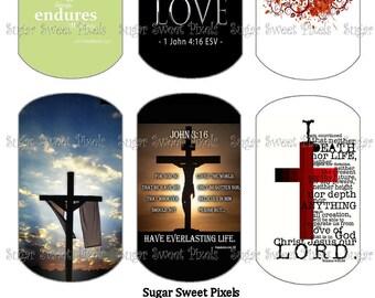INSTANT DOWNLOAD Christian Scripture  Digital Dog Tag Images 4x6 sheet
