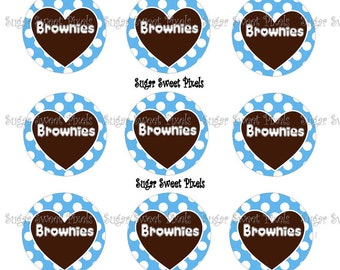 INSTANT DOWNLOAD Brownies Inspired  1 inch Circle Bottlecap Images
