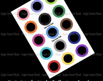 INSTANT DOWNLOAD Polka dot Border 1 inch Circle PNG Bottlecap Template 4x6 sheet