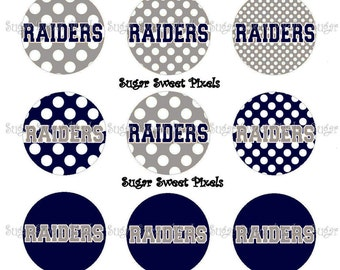 INSTANT DOWNLOAD Navy Silver Raiders Polka dot School  1 inch Circle Bottlecap Images 4x6 sheet