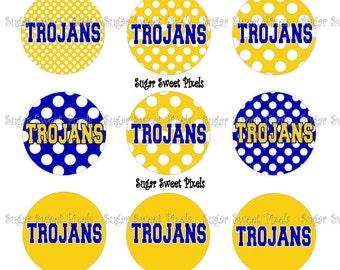 INSTANT DOWNLOAD Blue Gold Trojan Dot  1 inch Circle Bottlecap Images 4x6 sheet