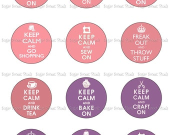 INSTANT DOWNLOAD Keep Calm purple & Pink  2 inch Circle Images 8x10 sheet
